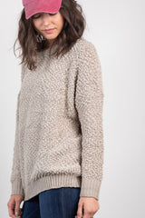 all warm and fuzzy sweater-taupe
