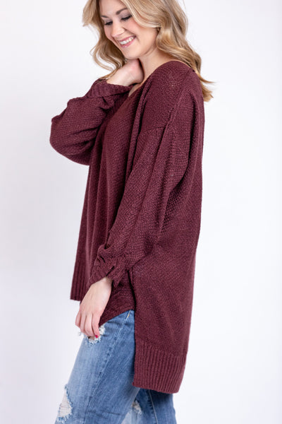 winter warmth sweater-red bean