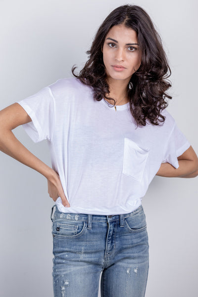 boyfriend pocket tee-white