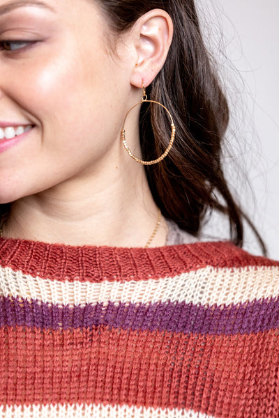 large square hammered hoops-matte gold