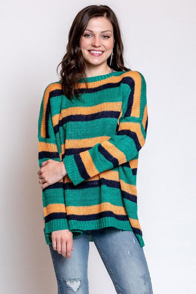 stripes win sweater - emerald