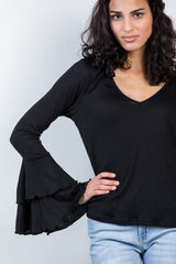 double time ruffle top-black