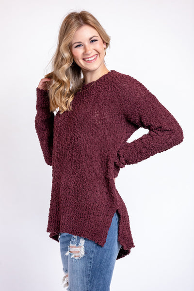 pretty in plum sweater