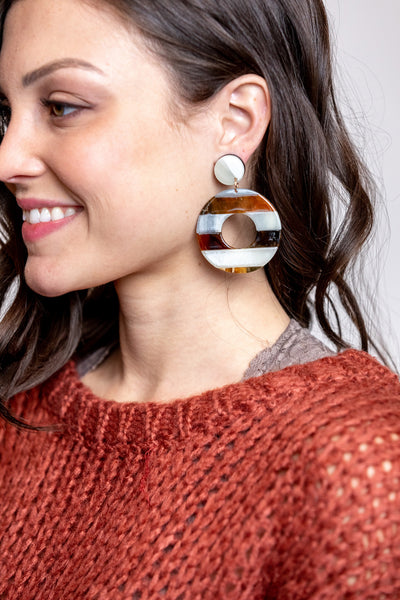 two tone drop circle earrings-gray
