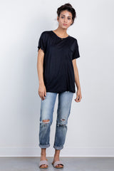 boyfriend pocket tee-black