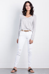 white slit skinnies by just black denim