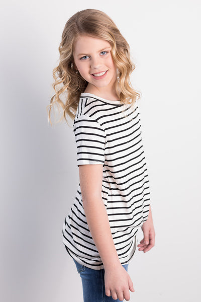 twist and shout stripe top-ivory