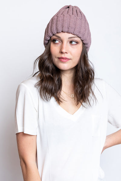 chenille beanie with cuff-red bean