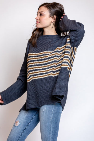 well traveled striped pullover-navy