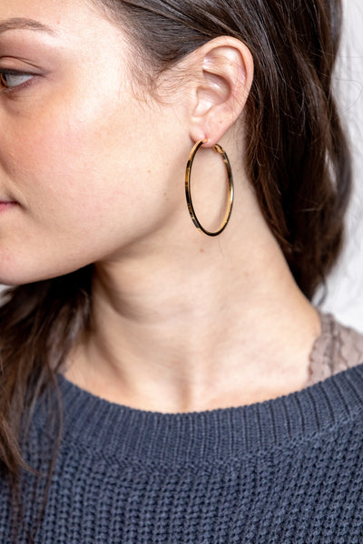 flavia thick hoop earrings-shiny gold