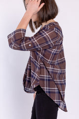 plaid in style top - brown