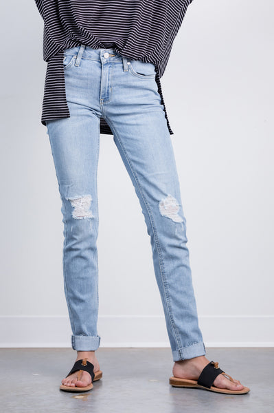 mid destroyed skinnies by just black denim