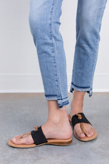 light step frayed by just black denim