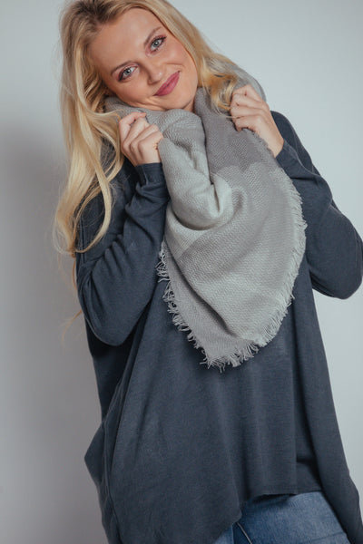 grey fringed scarf