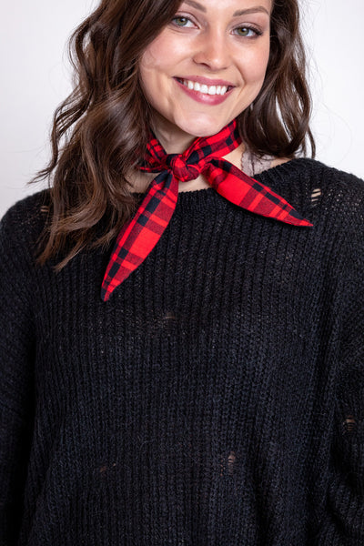 red and black plaid scarf tie