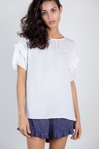 call it a day ruffle sleeve top-white