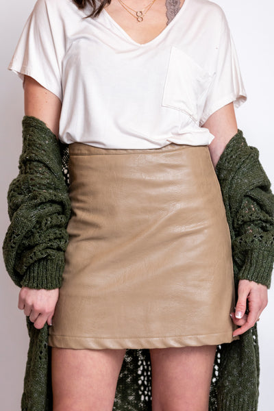 perfect match leather skirt-camel