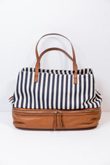 blue stripe travel tote