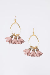 floral fringe earrings - mauve
