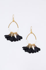 floral fringe earrings - black