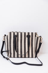 black stripe satchel