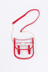 clear saddle clutch-red