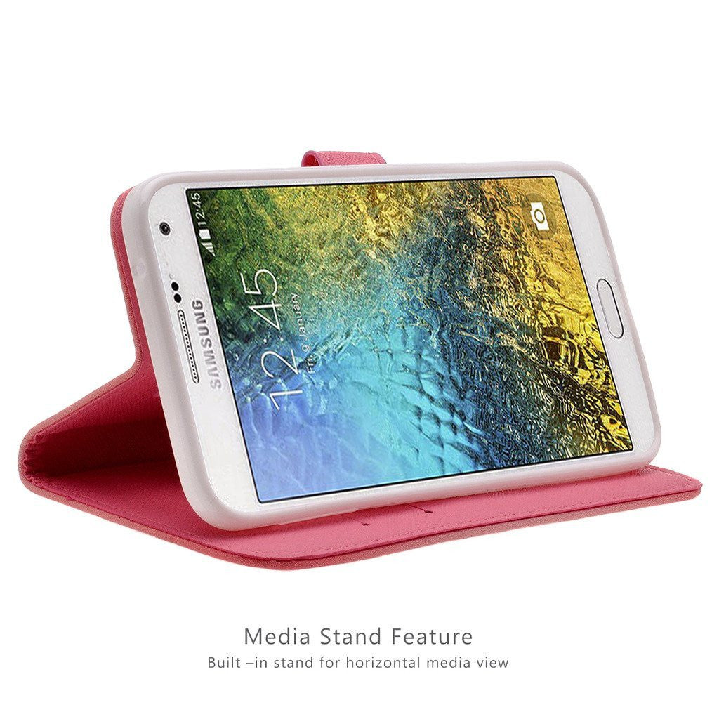 Samsung Galaxy E5 E500 Case Innovaa Premium Leather Wallet With Stand Flip Cover