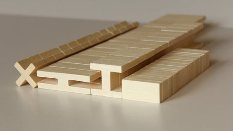 'Luco Wooden Bricks' Natural Set, 65 pieces
