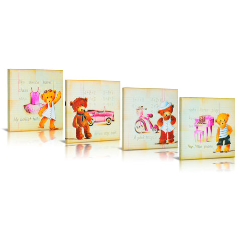 'My Teddy Bear' Gallery Wrapped Fine Canvas Art- 4 Piece Set