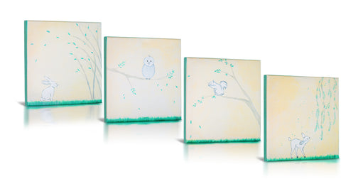 Forest Friends, Gallery Wrapped Fine Canvas Art- 4 Piece Set