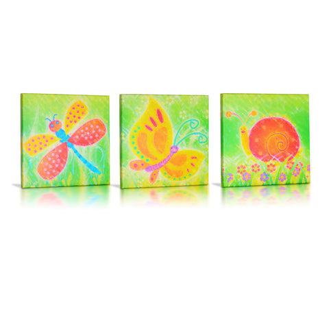 'Snail, Butterfly & Dragonfly' Gallery Wrapped Canvas Art - 3pc Set