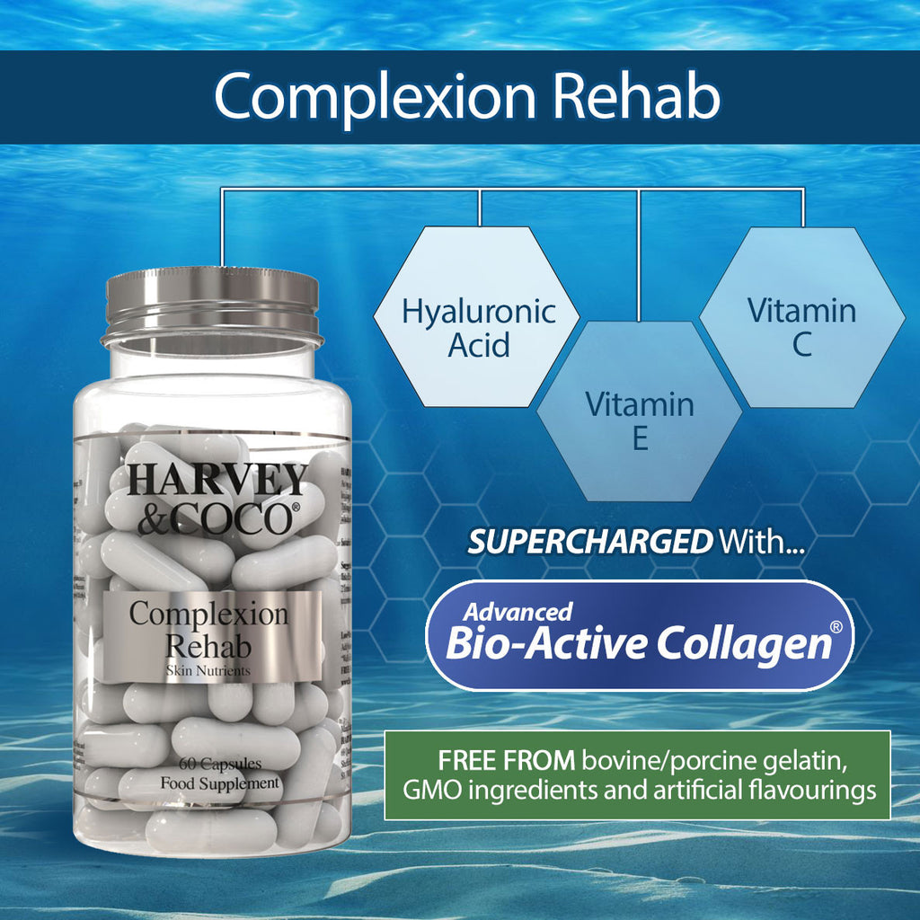 Collagen Tablets Capsules Supplement, Complexion Rehab With hydraTIGHT, Hyaluronic Acid, Vitamin C and E, Skin Hair Nails Wrinkles Joints