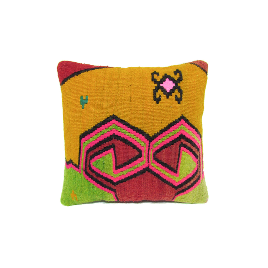 Mustard, Red and Lime Kilim Pillow