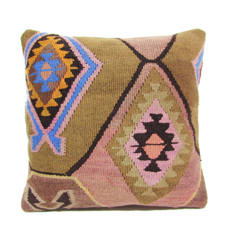 Pink, Gold and Cobalt Kilim Pillow, IV