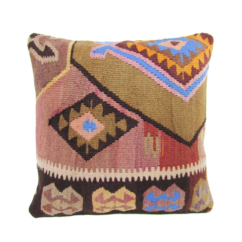 Pink, Gold and Cobalt Kilim Pillow, I