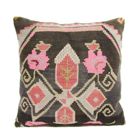Pink and Sage Geometric Floral Kilim Pillow