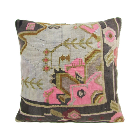 Gray, Pink and Sage Geometric Floral Kilim Pillow