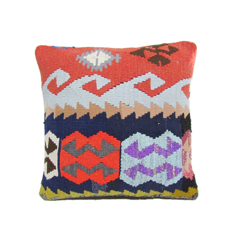 Navy, Red and Lime Tribal Kilim Pillow, II