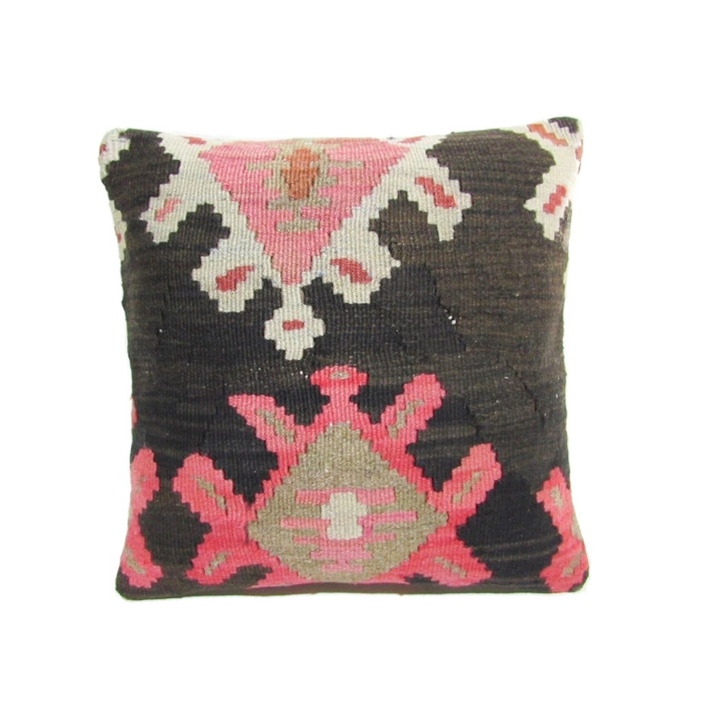 Pink, Cream and Black Kilim Pillow