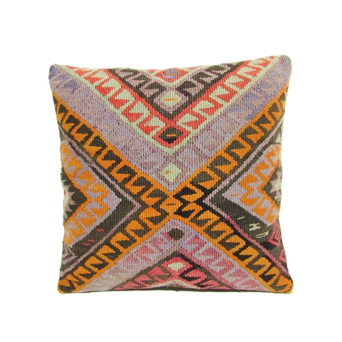 Lavender and Orange Tribal Kilim Pillow