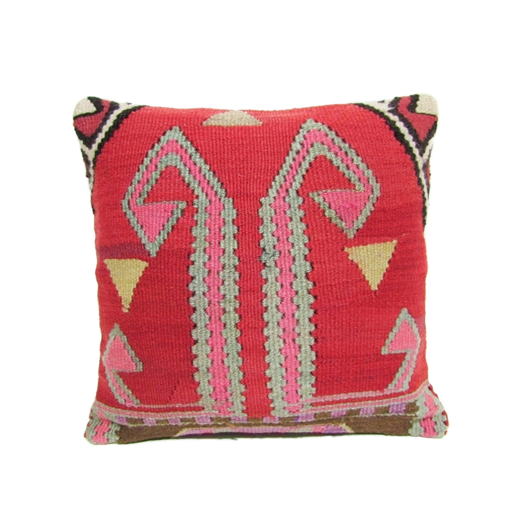 Red and Pink Tribal Kilim PIllow