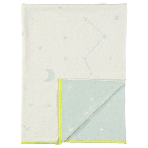 Constellation Knitted Blanket - Blue