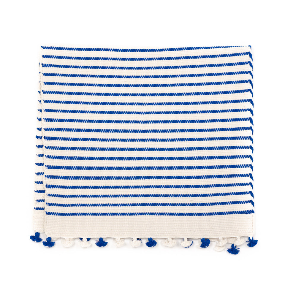 Sadek Bath Mat, Blue and White