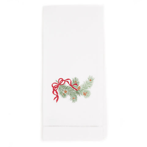 Pine Bough Ribbon Guest Towel