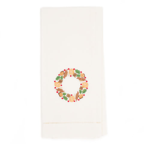 Orange Wreath Guest Towel