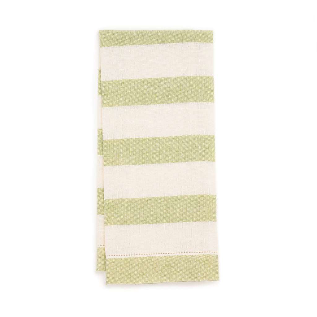 Chambray Stripe Hemstitch Guest Towel, Green