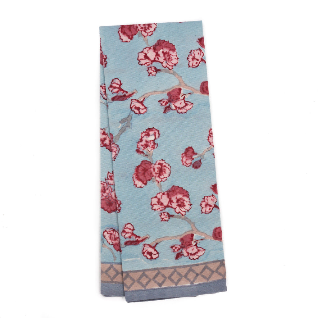 Cherry Blossom Tea Towel, Blue/Blush