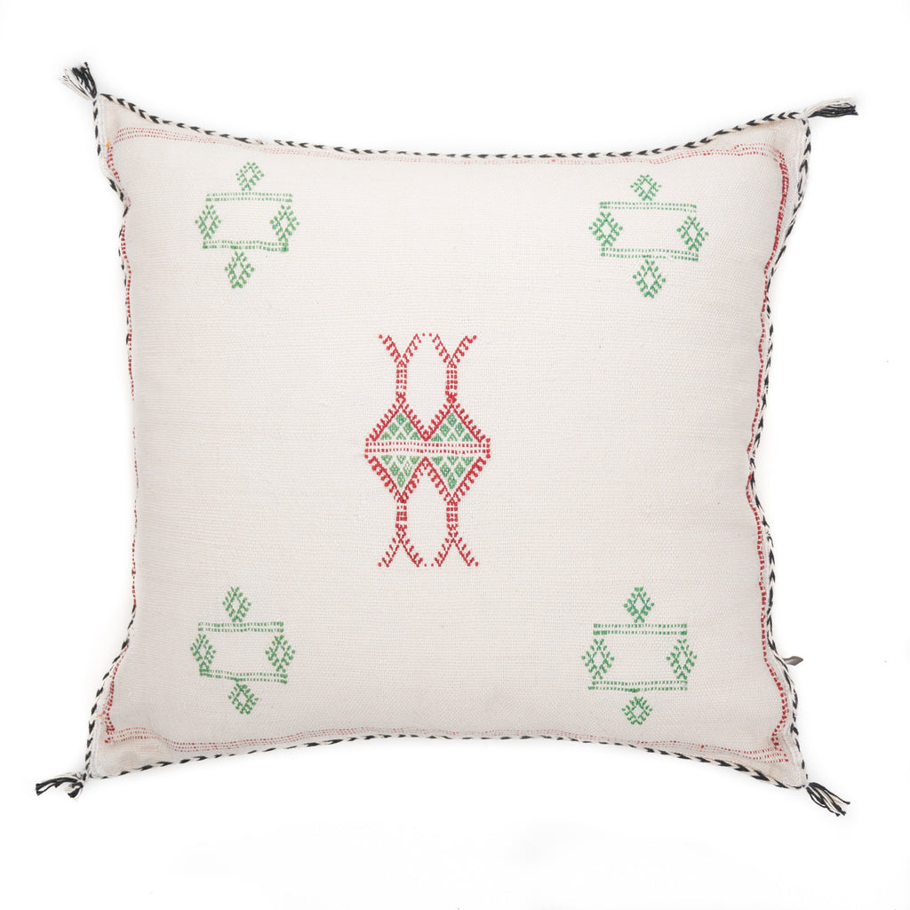 Cactus Silk Pillow, Cream Green Red