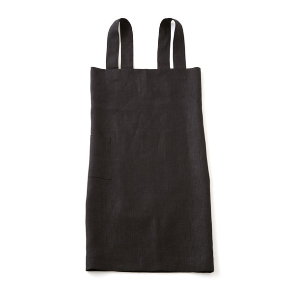 Linen Square Cross Apron, Black