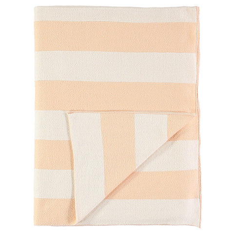 Stripe Knitted Blanket - Peach